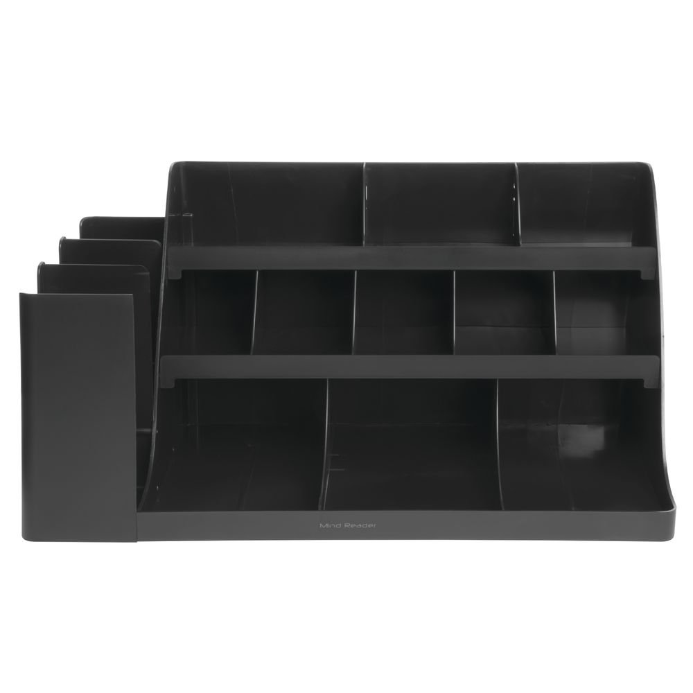 Mind Reader ''Vanguard'' 14-Compartment 3-Tier Extra Large Black ABS Plastic Breakroom Organizer