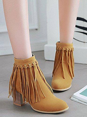 Comfy Women's Faux Tassel Martin Chunky Yellow Heels Boots Zipper Mid Suede Aisun FBT7wq5