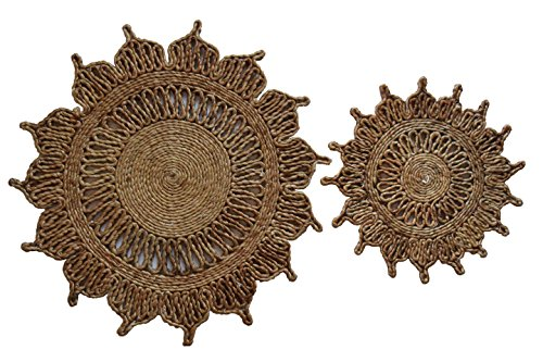 Toockies Hand Made Organic Jute Trivets/Hot Pads in Unique Flower Pattern- Set of 2 ()