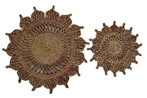 Toockies Hand Made Organic Jute Trivets/Hot Pads in Unique Flower Pattern- Set of 2 (Flower Trivet)