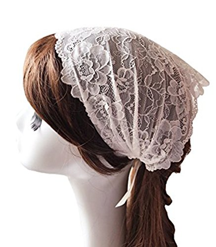 - Vintage Frenc Lace Headband Soft Headwrap Head Covering Church Veil H2 (Ivory)