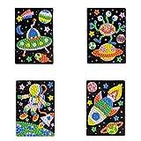 Mosaic Sticker Art Sticky DIY Handmade Art Kits for Kids Puzzle Sticker Educational Toy-UFO, Alien, Astronaut, Spaceship Pattern (1set) HN0006A--6D