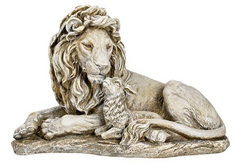 Joseph's Studio Lion and Lamb Large 20 Inch Grey Stone Finish Garden Statue (Resin Outdoor Lion Statues)