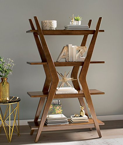 Interesting And Modern Design Ladder Bookcase Made of Wood and In Walnut Color by eCom Fortune
