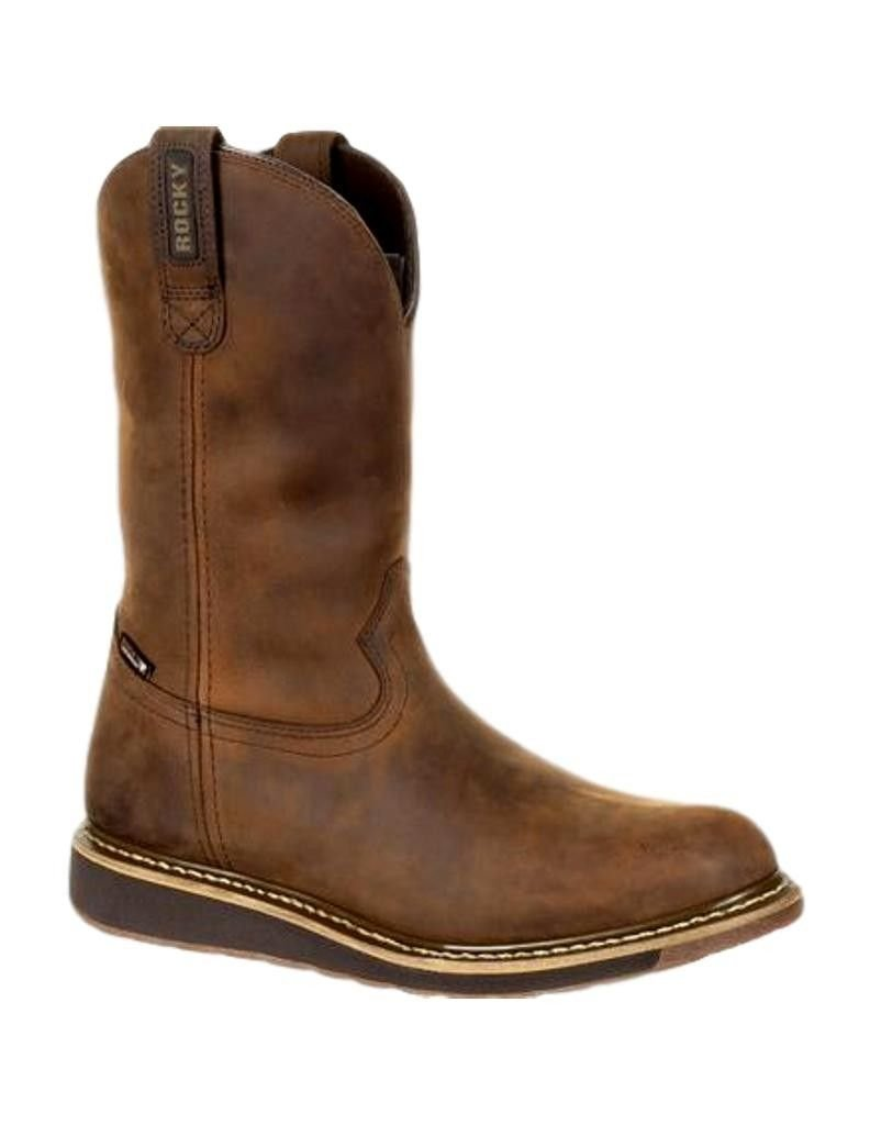 Rocky Western Boots Mens Waterproof Rubber Leather 9 M Brown RKW0235