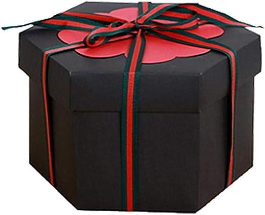 didatecar Caja de Explosión DIY Álbum de Recortes Hexágono Caja de Regalo Amor Memoria para Navidad/San Valentín/Aniversario/Cumpleaños/Boda: Amazon.es: Hogar