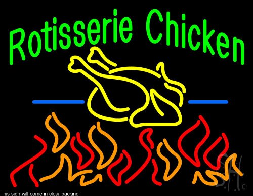 "Rotisserie Chicken Clear Backing Neon Sign 24"" Tall x 31"" Wide"