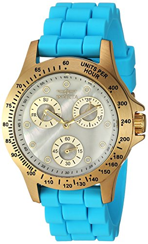 Invicta Women's 'Speedway' Quartz Stainless Steel and Silicone Casual Watch, Color:Blue (Model: 21979)