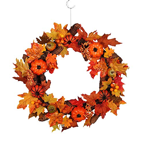 - Pumpkin Berry Pine Maple Rattan Wreath, Witspace Christmas/Thanks Giving/Harvest/Holiday/Autumn/ Wedding Party Wreath Decor-23 inch