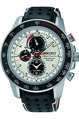 (Seiko Sportura White Dial SS Leather Chrono Solar Quartz Men's Watch SSC359)