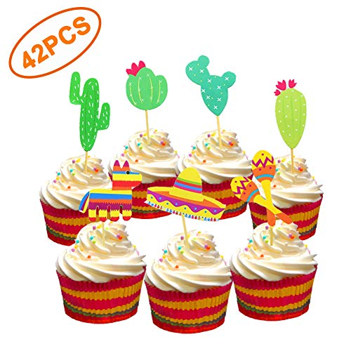 42 Pcs Mexican Fiesta Cupcake Toppers Decoration, Cactus Donkey Maraca Sombrero for Themed Party Supplies