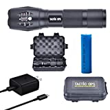 Tactic Ops Rechargeable Tactical Super Bright 1200 Lumen LED Aluminum Alloy Flashlight carrying case and USB cable and plug included