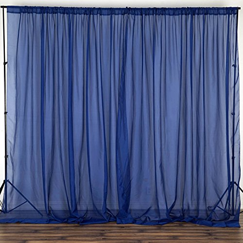 BalsaCircle 10 feet x 10 feet Navy Blue Sheer Voile Backdrop Drapes Curtains - Wedding Ceremony Party Home Decorations
