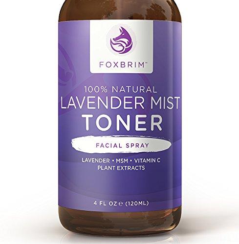 Brume de lavande lotion tonique - 100 % naturel Mist Spray Facial Toner - ingrédients rafraîchissants & revitalisants - nourrissantes & restauration - MSM, aloès, Yucca, spiruline, Gotu Kola & vitamine C - Foxbrim 4OZ