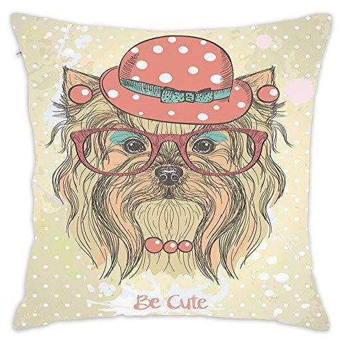 Unique Desgin Pillowcase Custom Home Decor Design Throw Pillow Cover Pillow Case Cotton Linen for Sofa Car 18x18 Inches - Be Cute Portrait of an Adorable Dog