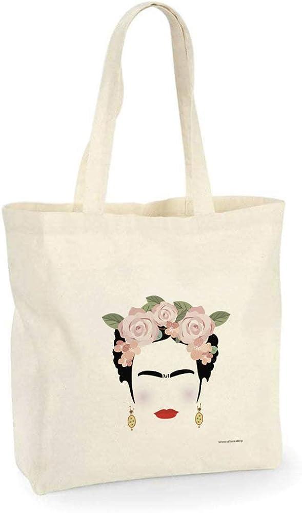 all sas Sac Shopper Frida Kahlo 100/% toile de coton imprim/é Made in Italy