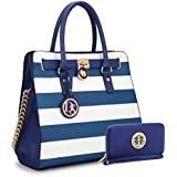 MMK collection Women Fashion Pad-lock Satchel handbags with wallet~Designer Purse for Women Handbag Set (02-2553/BL/WT)
