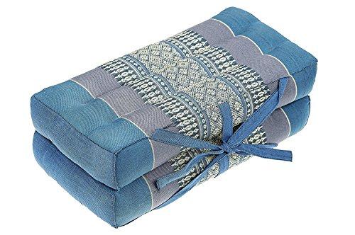 "Mongkol Brand Thai Foldable Pillow, Seat/Chairpad and Meditation Cushion 100% Cotton & Natural Kapok Stuffing, Blue Tones, 16"" by Mongkol Brand"