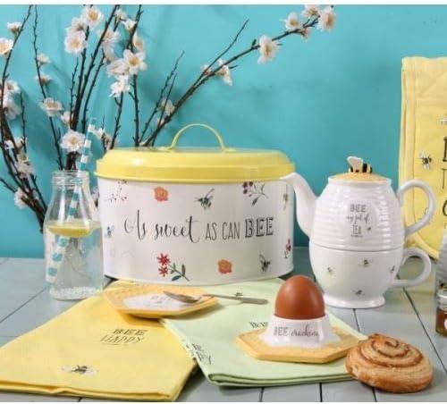 Retro Hummel Blumen gelb Metall Dose rund English Tableware Company Bee Happy Bee Mine Kuchenform