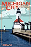 Indiana - Michigan City Lighthouse (12x18 Art Print, Wall Decor Travel Poster)