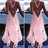 Meolin Summer Beach Lace Dress Long Dress Spaghetti Strap Backless Dress ,green,L