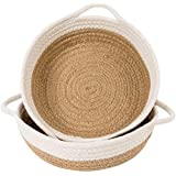 """Goodpick 2pack Cotton Rope Basket - Woven Storage Basket - 9.8"""" x 8.7"""" x 2.8"""" Small Rope Baskets for Kids Home Decor Toy Bask"""