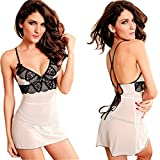 LEADO Sexy Lace Erotic Stretch See Through Babydoll Lingerie Set for Women,White,Small/Medium