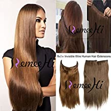 """Remeehi 15""""-24"""" Straight Invisible Wire Halo Human Hair Extensions One Piece 80G(15"""" 6#)"""