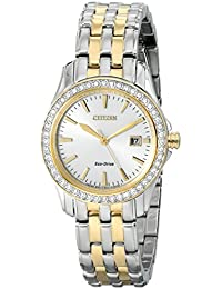 Eco-Drive Womens EW1908-59A Silhouette Crystal Analog Display Two Tone Watch