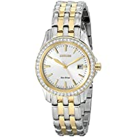 Citizen Eco-Drive Women's EW1908-59A Silhouette Crystal Analog Display Two Tone Watch