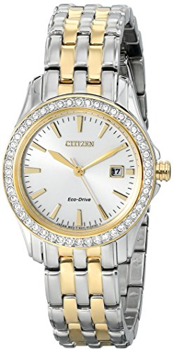 Price comparison product image Citizen Eco-Drive Women's EW1908-59A Silhouette Crystal Analog Display Two Tone Watch