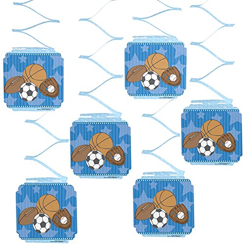 Big Dot of Happiness All Star Sports - Baby Shower or Birthday Party Hanging Decorations - 6 Count