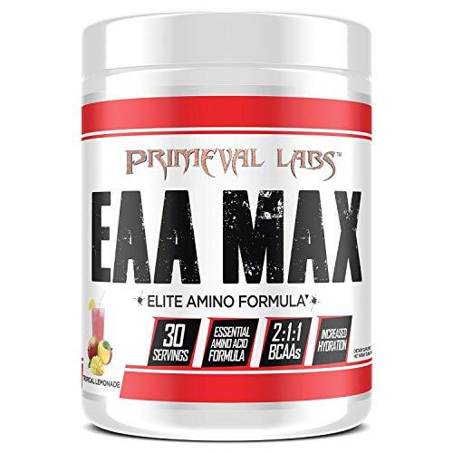 Primeval Labs EAA Max, Amino Acid Supplements, BCAAs, EAAs, Electrolytes, Enhances Performance, Supports Hydration, Improves Metabolism, Tropical Lemonade, 30 Servings