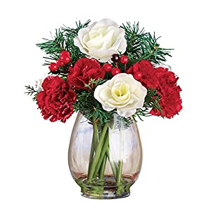 Collections Etc Christmas Flowers Evergreen Bouquet 112