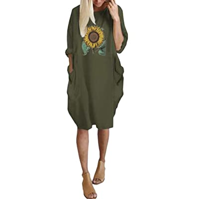 ღLILICATღ Vestido de Bolsillo de Mujer de Moda Suelta Vestido de Cuello Redondo de Manga Larga Impresión de Las Mujeres más el tamaño de Vestido Largo Tops: Ropa y accesorios
