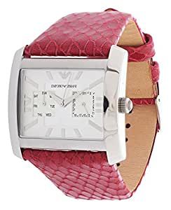 Emporio Armani AR5769 - Reloj para mujeres, correa de cuero color burdeos