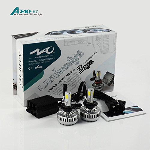 AKS LED Headlight All in One Conversion Kit (from HID or Halogen)- 80W 7200LM COB LED- All Bulb Sizes (H7)