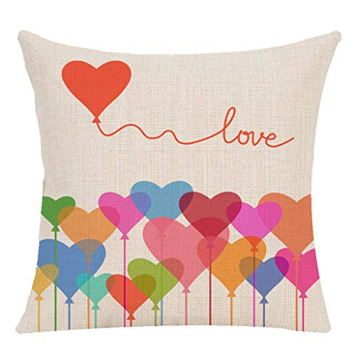 VECDUO Clearance Sale! Valentine's Day Throw Pillow Case Cushion Cover Love Hearts Home Decor Cotton Linen for Sofa Couch, 18x18 -