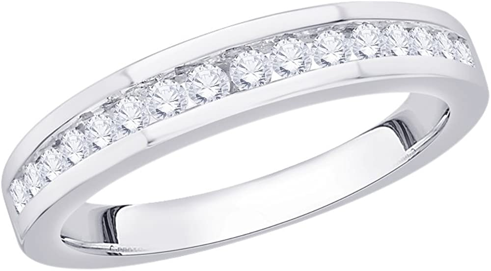 G-H,I2-I3 1//3 cttw, Diamond Wedding Band in Sterling Silver Size-6.75