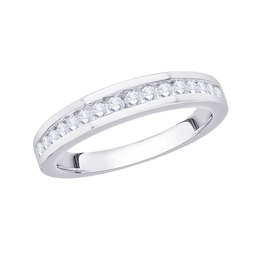 Size-6.25 1//3 cttw, Diamond Wedding Band in Sterling Silver G-H,I2-I3