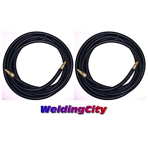 WeldingCity 2-pk 150Amp Power Cable Hose 57Y01R 1-Pcs Style 12.5-ft Rubber for Air-Cooled TIG Welding Torch 9/17 in Lincoln Miller ESAB Weldcraft CK Everlast AHP by TIG Welding Power Cable Hoses