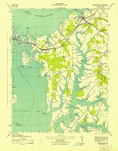 Maryland Maps   1943 Queenstown, MD USGS Historical Topographic Map  Fine Art Cartography Reproduction - Md Queenstown