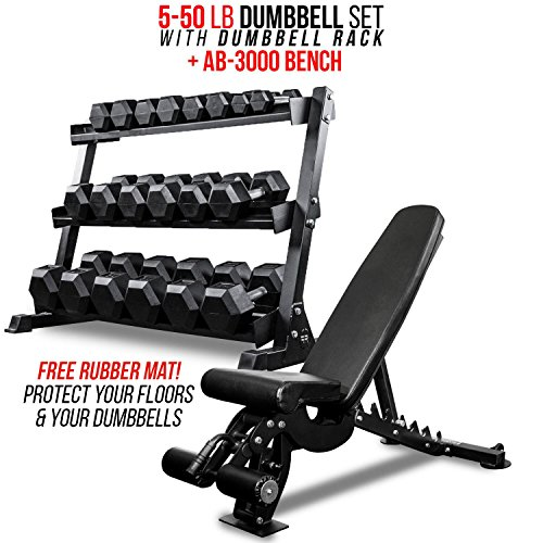 Rep Fitness Rep 5-50 lb Rubber Hex Dumbbell Set with 3-Tier Dumbbell Rack and Adjustable Bench AB-3000 ()
