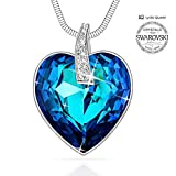 "Lydia Queen Swarovski Crystal Necklace "" Heart of Ocean "" Sapphire Pendant Necklace Made with Genuine Swarovski Blue Crystal / Purple Crystal - Free Luxury Jewelry Box Birthday Gifts Anniversary Gifts"