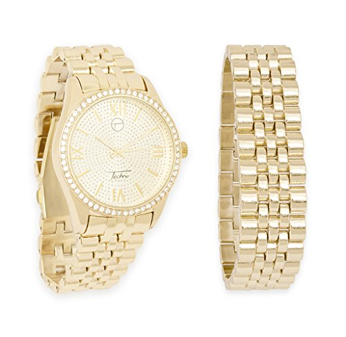Single Diamond Watch (Round Iced Out Watch with Bling-ed Face & Matching Bracelet Gift in Gift Box by Techno Pavé (Gold))