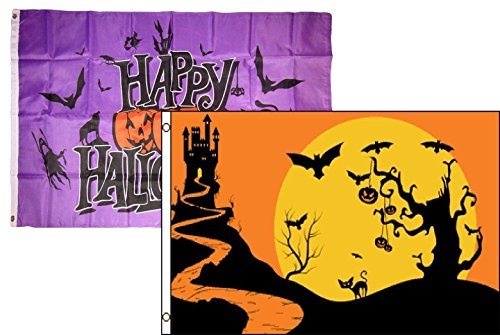 ALBATROS 3 ft x 5 ft Happy Halloween 2 Pack Flag Set Combo #27 Banner Grommets for Home and Parades, Official Party, All Weather Indoors Outdoors -