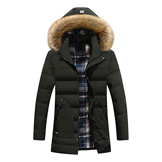 38f084e5dac KUDICO Mens Warm Coat Sale Winter Solid Color Cotton Hooded Jacket Pocket  Zip Outwear Tops with Detachable Hat: Amazon.co.uk: Clothing
