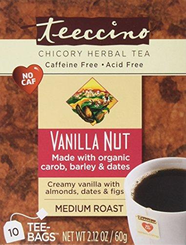 Teeccino Vanilla Nut Herbal Coffee Medium Roast Caffeine Free 10 Tee Bags -