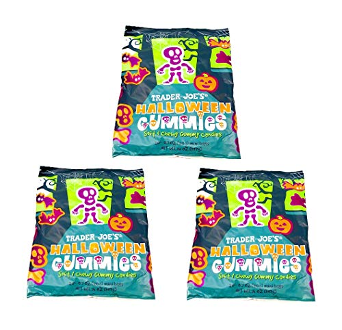 Trader Joes Halloween Gummies individually Wrapped Gummy Candies - Pack of 3 Bags - 60 Mini Bags ()