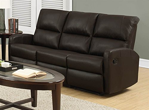 Monarch Specialties I 84BR-3 Reclining Sofa in Dark Brown Bonded Leather
